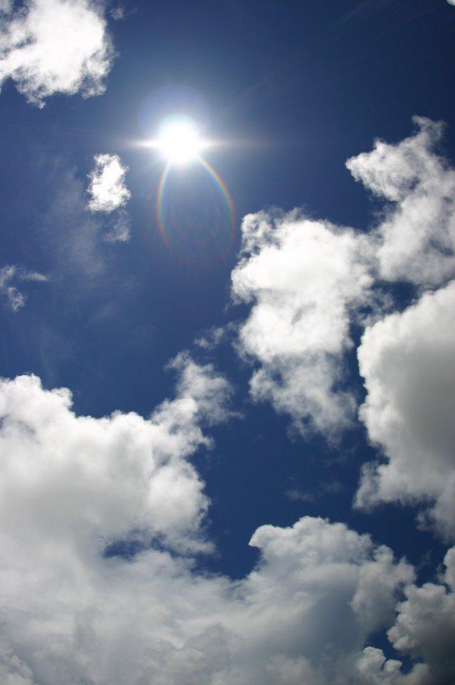 強い太陽の光